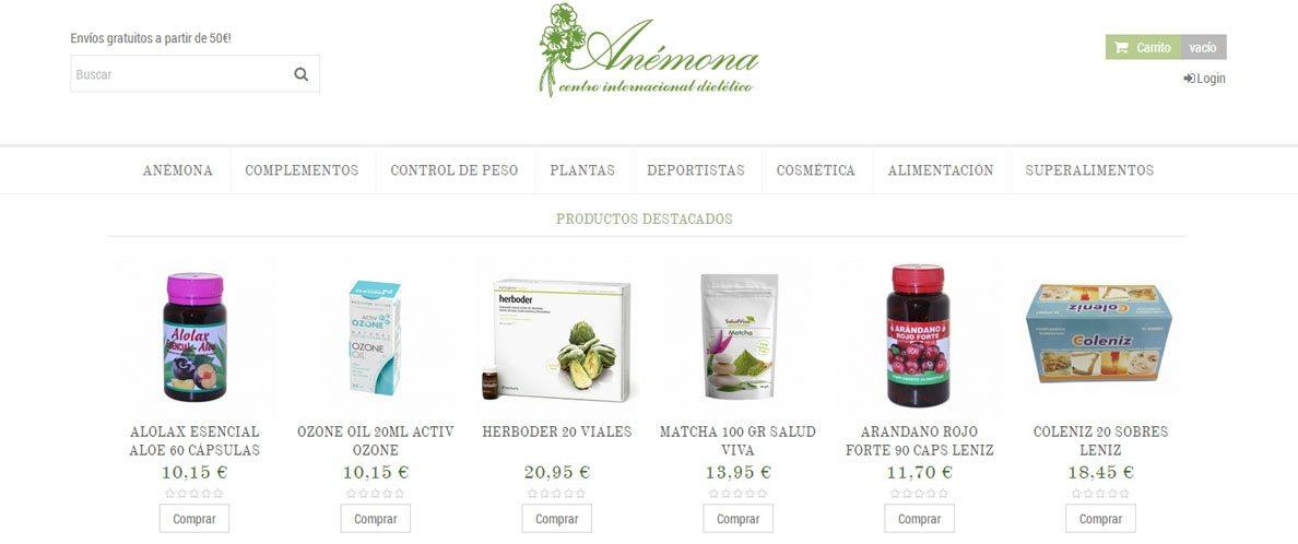 diseño de tienda online en gijón: anemona herbolario