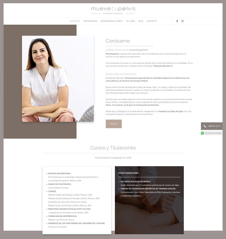 Diseño de páginas web para fisioterapeutas